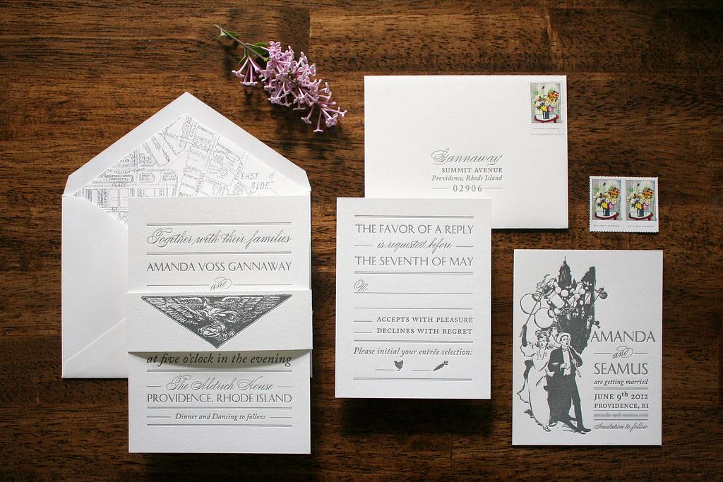 Simple Vintage Wedding Invitations: Vintage Ephemera Inspired Letterpress Wedding Invitations