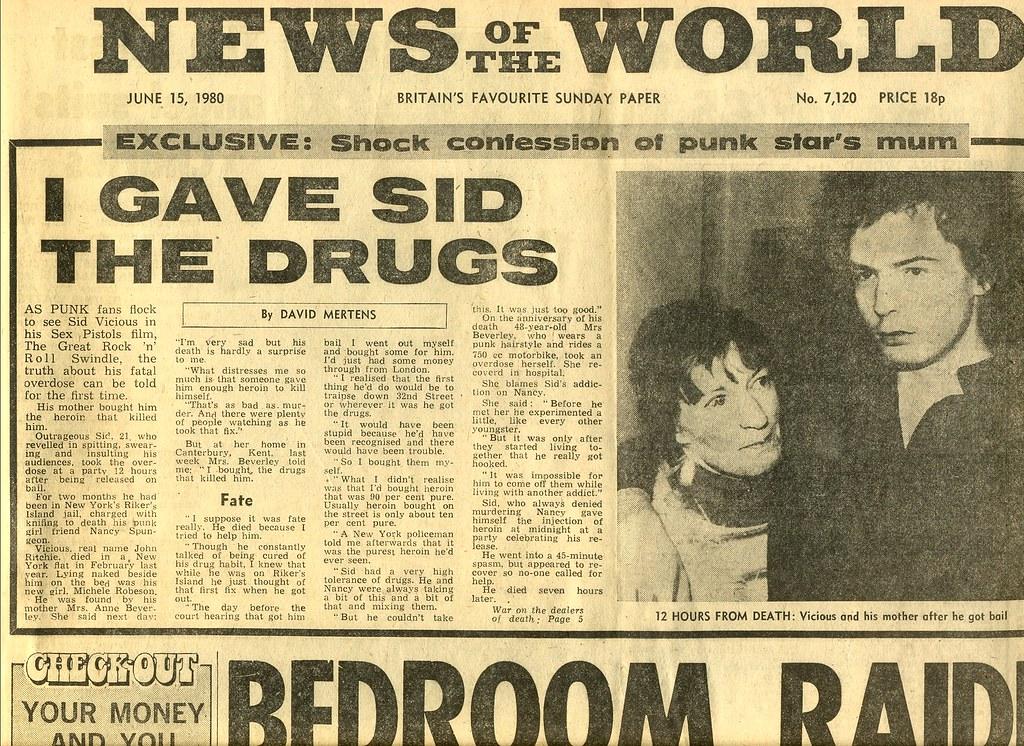 Sid Vicious Newspaper Headline June 1980 By Paul M Wright