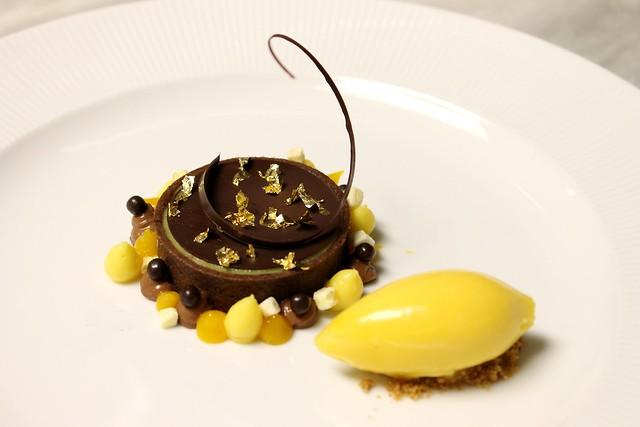 Chocolate passion fruit tart: chocolate hazelnut mousse, passion fruit ...