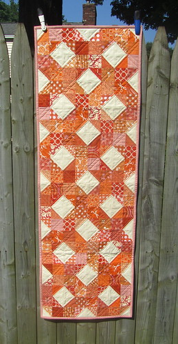 "Table Runner in orange w/ ivory linen - 16""x48"" 