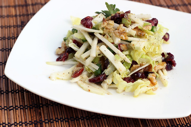 Kohlrabi Slaw with Dried Cranberries and Walnuts - gluten-free + vegan