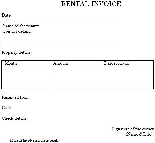 download rent receipt template uk | rabitah, Invoice templates