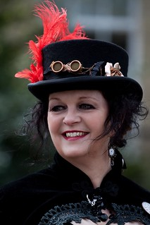 Lovely Lady wearing a Top Hat & Red Feather @ Saltaire Heritage Festival April 2012 | by gemini2546