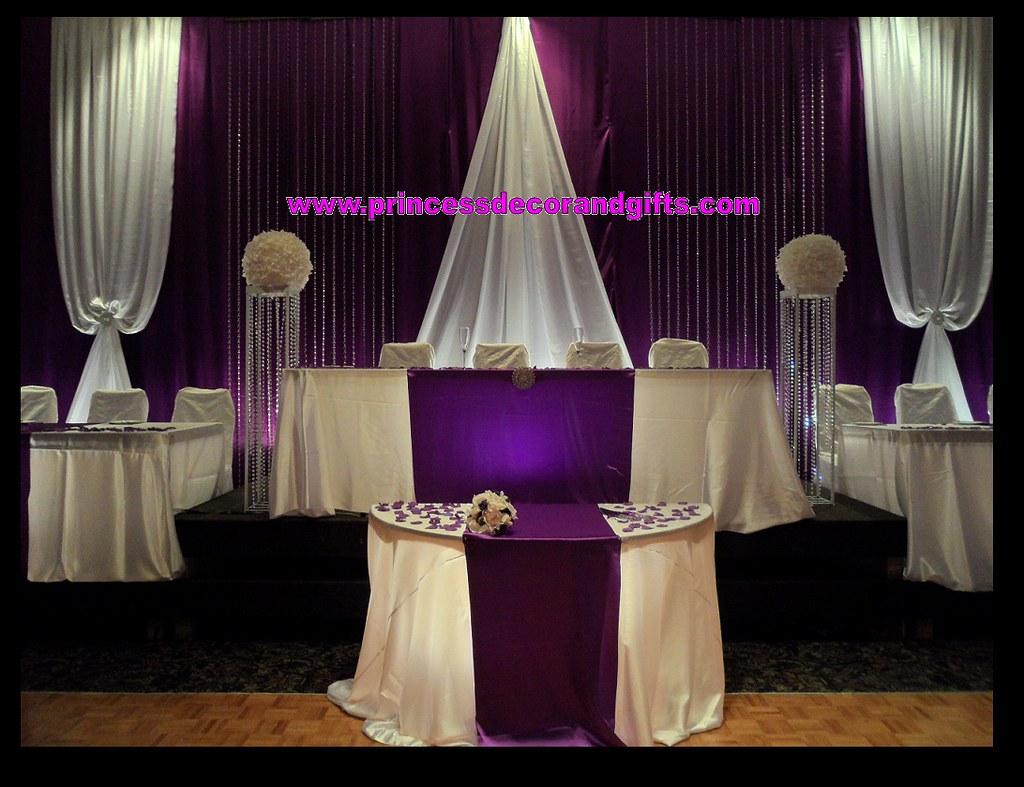 Royal Purple Amp White Satin Crystal Backdrop Stage