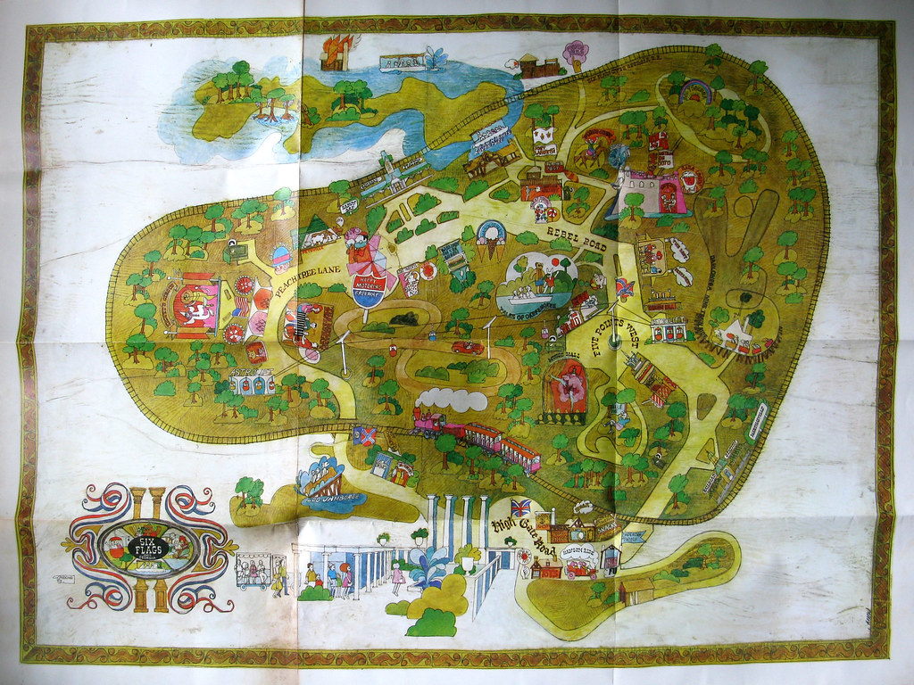 Vintage Six Flags Over Georgia Map  Very Early Poster