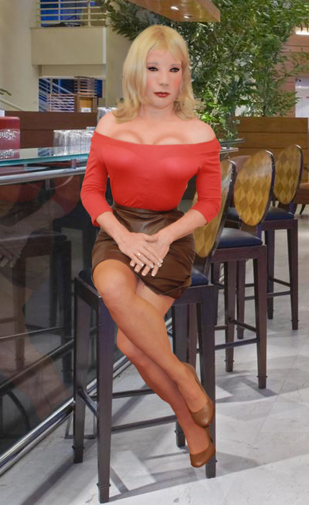 Kathy Leigh Red Top And Brown Leather Skirt I Left My
