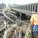 Storm piles logs at bridge