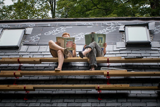 Us Reading Slating Books on Slate Roof of Straw Bale Cottage | by goingslowly