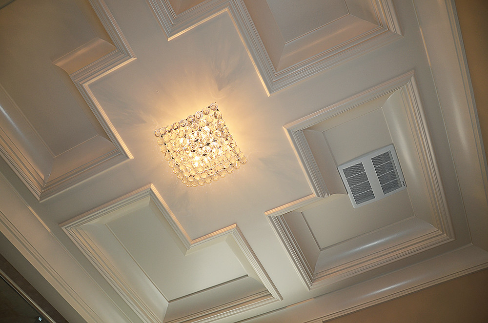 Coffered ceiling design in a bathroom.   Coffered ceilings ...