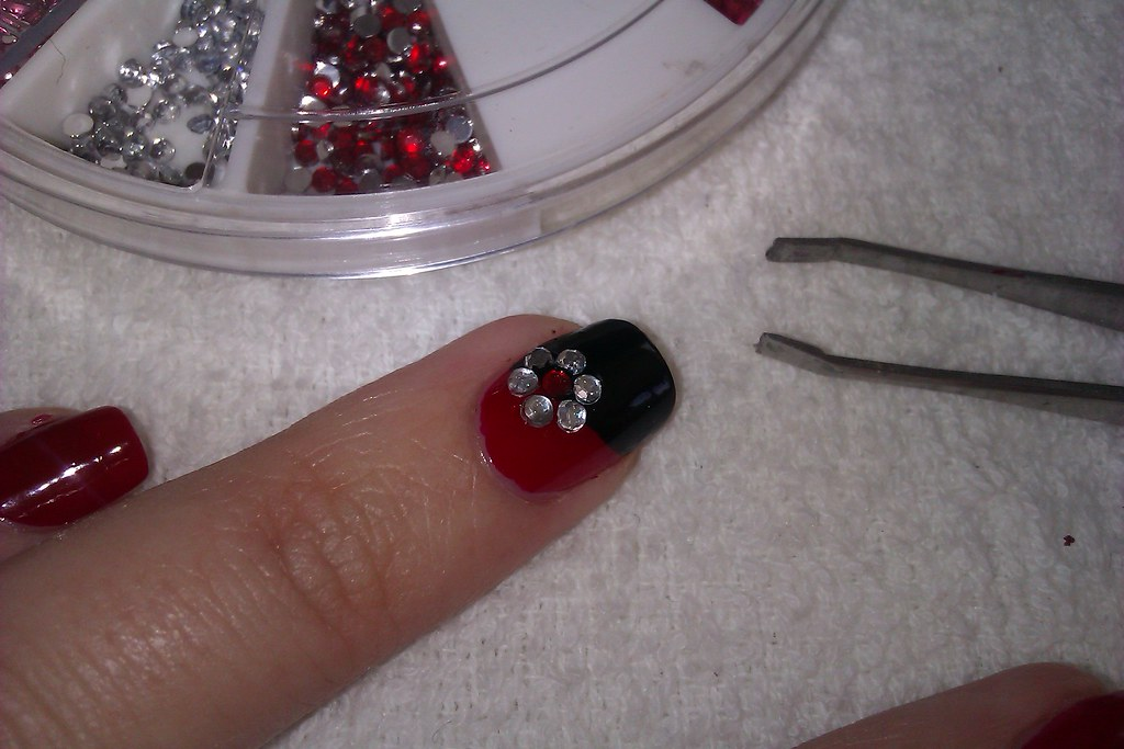 Simple diy nail art designs easy red and black nail desig flickr simple diy nail art designs easy red and black nail design with rhinestone flowers prinsesfo Image collections