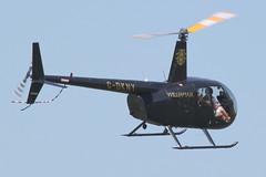 G-DKNY - 2007 build Robinson R44 Raven II, arriving at AeroExpo 2012