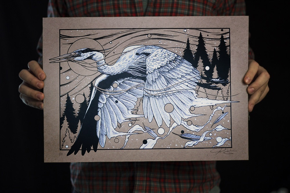 Jared Wright Heron Screen Print