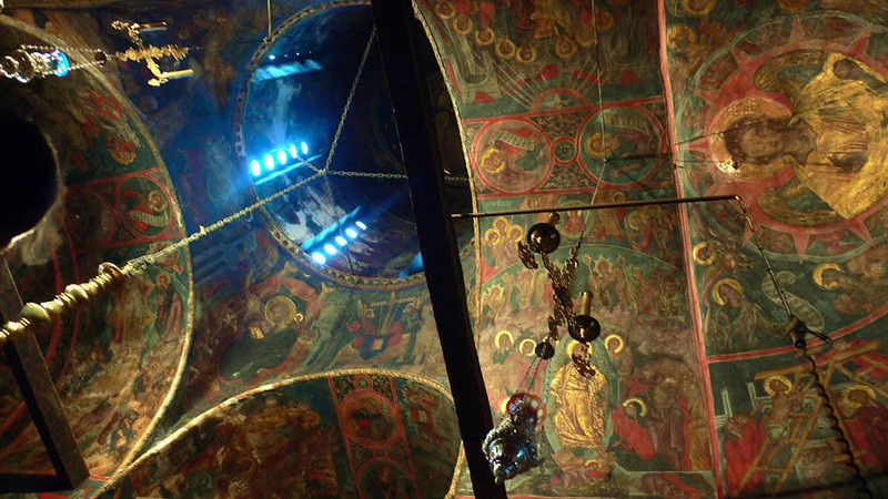 Interior de la iglesia de Gran Meteora. Katholikón.