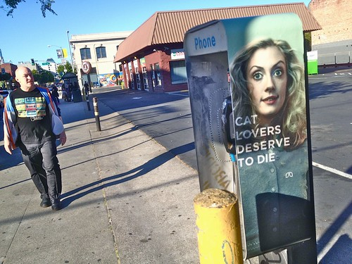 Cat Lovers Deserve to Die: Folsom St Phone Booth, San Francisco | by Lynn Friedman