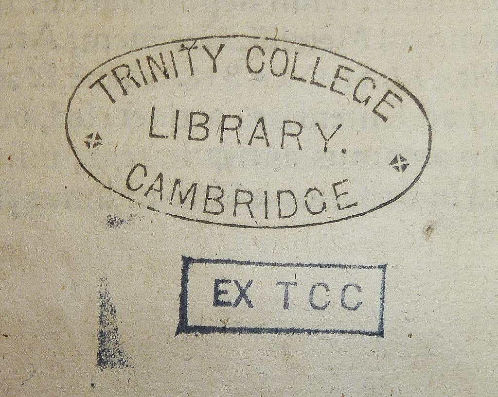 Oval Library Stamp And Rectangular Withdrawal Of The Trinity College University