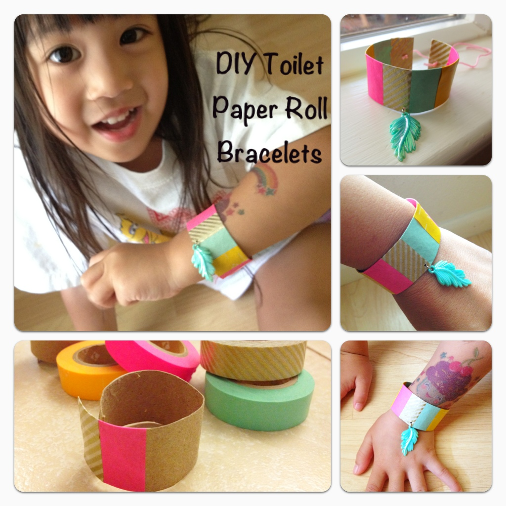 Diy toilet paper roll bracelets with washi tape and a for Diy using toilet paper rolls