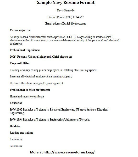 Sample Navy Resume Format | For more samples of Navy resumes… | Flickr