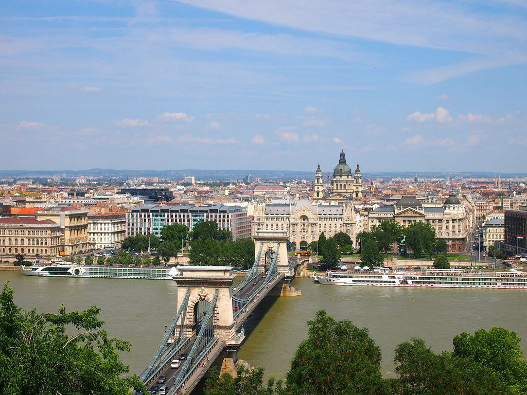 Budapest's Chain Bridge seen from Castle Hill