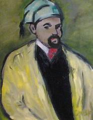 Frank Justin Gonski Art yellow jacket man with sleeping cap