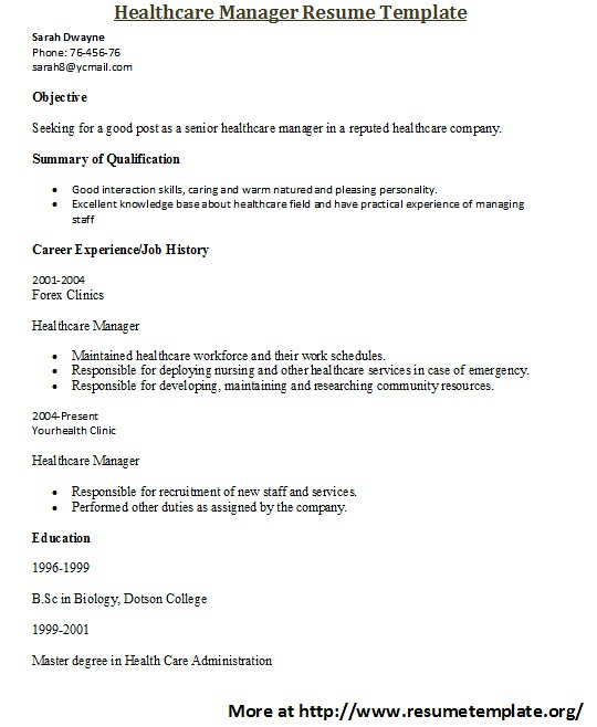 Healthcare Resume Templates For More Healthcare Resume Tem