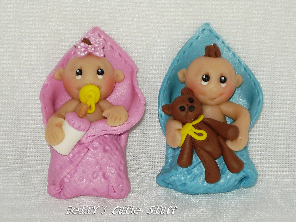 Baby Boy Girl Set Polymer Clay Bead Charm Bow Center
