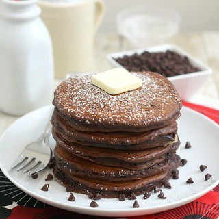 Chocolate Cookie Dough Pancakes | by Tracey's Culinary Adventures