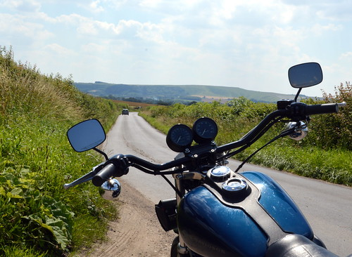 Super Glide Motorbike on Oxfordshire Country Road
