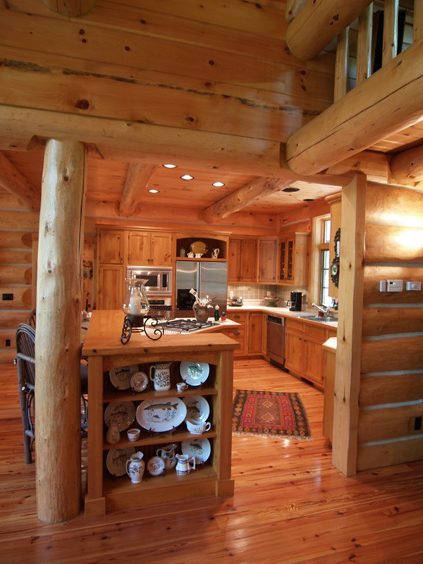 Log home kitchen here is a nice view from the living for Log home kitchens gallery