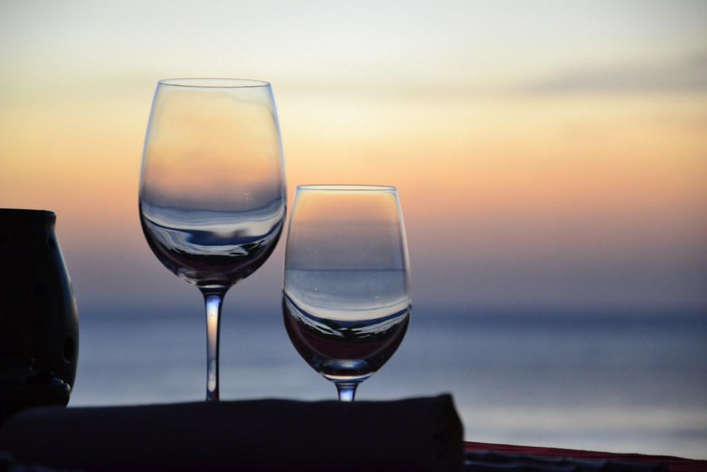 Glasses Wine Glasses Set Up For A Romantic Dinner For