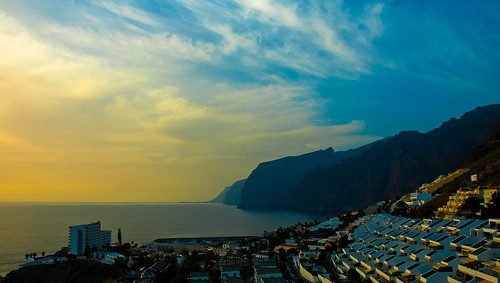 Sunset over Los Gigantes village and cliffs. By Thomas Tolkien | by Thomas Tolkien