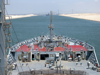Suez Canal from the Bridge of RFA WAVE RULER | by Ugborough Exile