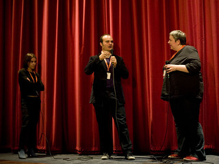 Oskar Alegria and Jenny Leask at the Q&A for his film The Search For Emak Bakia | by Edinburgh International Film Festival