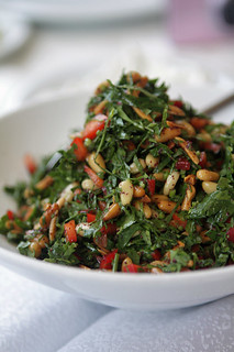 herb salad with pinenuts | by David Lebovitz