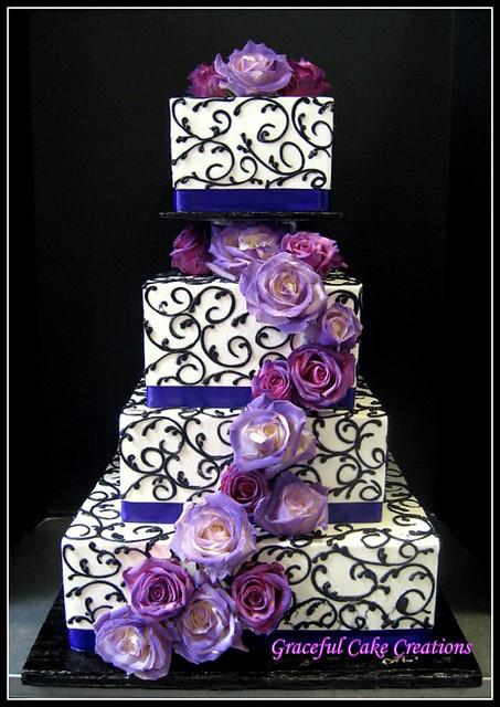 Purple Icing Birthday Cake With Rhinestone Band