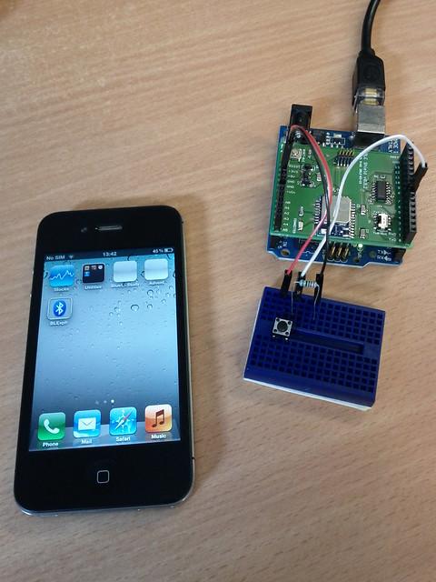 Arduino bluetooth low energy shield button iphone blex