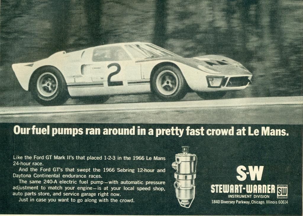 Stewart Warner Fuel Pump Ad With  Ford Gt By Coconv