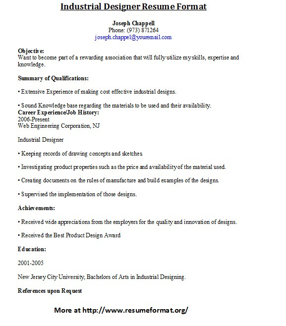 industrial designer resume format by johnreese industrial designer resume format by johnreese - Industrial Design Engineer Sample Resume