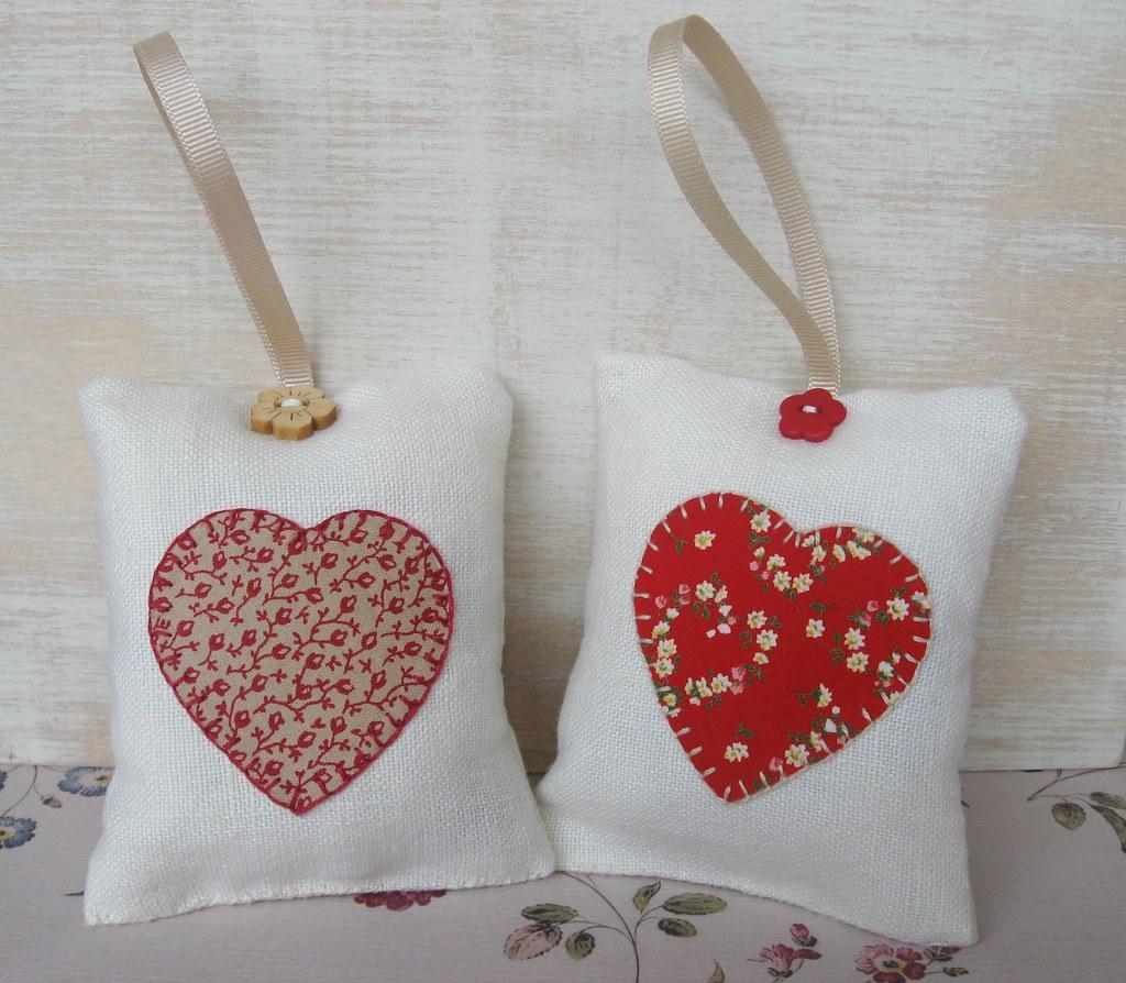 handmade applique lavender bags