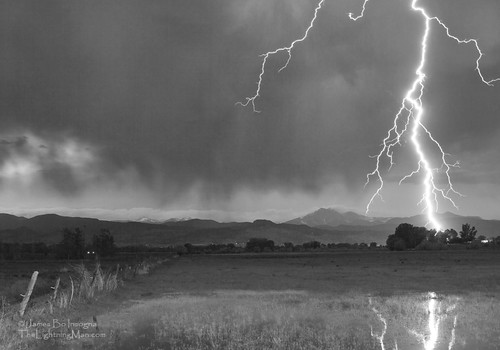 Lightning Striking Longs Peak Foothills 5BW | by Striking Photography by Bo Insogna