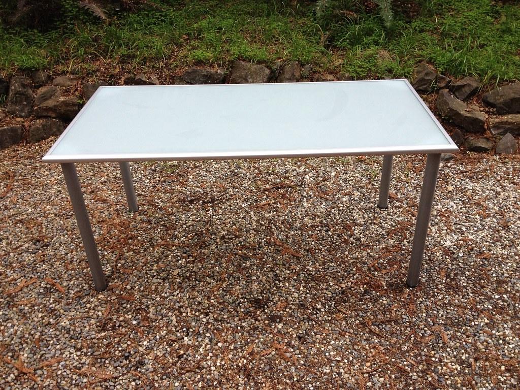 Ikea glass desk 62 x 32 x 30 james sanders flickr for Ikea glass work desk