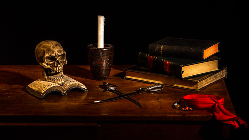 Still Life With Skull  Books And Candle
