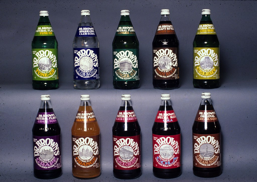 Dr. Brown's soda bottles designed by the Lubalin studio ...