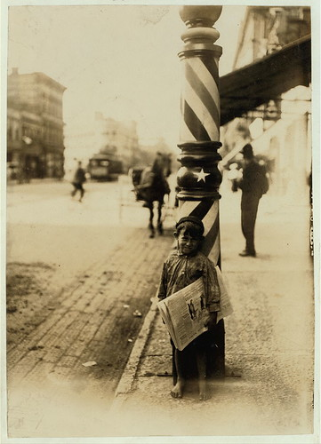 "A Little ""Shaver,"" Indianapolis Newsboy, 41 inches high. Said he was 6 years old. Aug., 1908. Wit., E. N. Clopper.  Location: Indianapolis, Indiana. (LOC) 