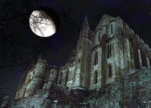 Gothic Castle Under Moon