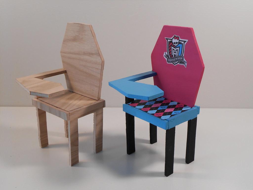 ... Monster High Furniture   Unassembled, Unfinished   School Desk | By  Monster Mini Customs