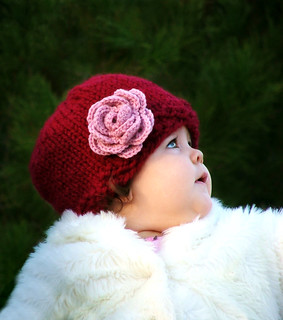 CRANBERRY BABY ROSE HAT sizes: 0-48 months | by CreatiKnit