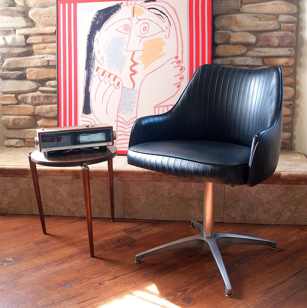 60s mod mid century modern chair chromcraft black faux lea for Designer chairs from the 60s