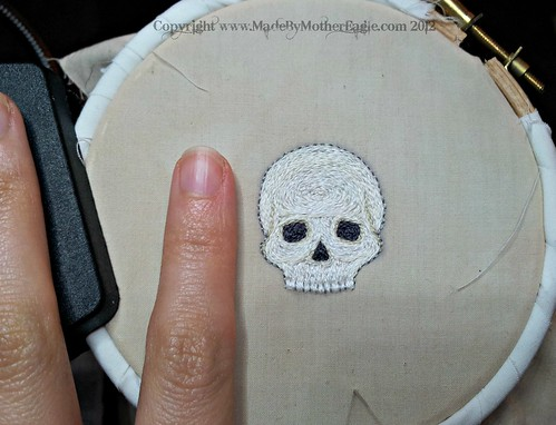 Skull miniature embroidery WIP | by MotherEagle