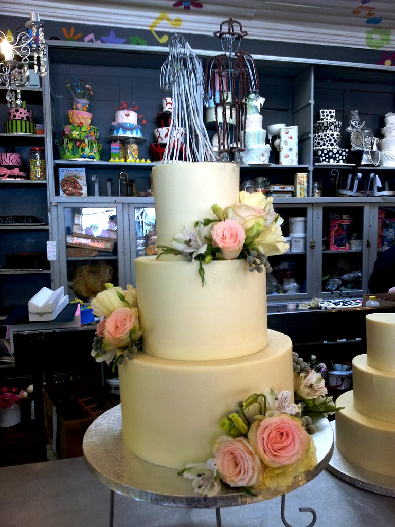3-tier Wicked Chocolate wedding cake iced in smooth white … | Flickr
