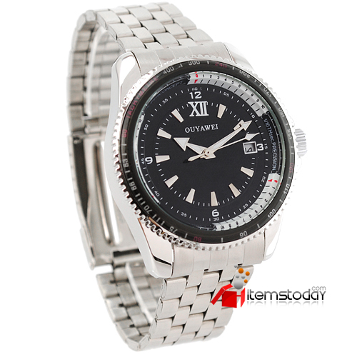 IW2034 Mens Black Dial Stainless Steel Band Auto-mechanical Watch | by watches.itemstoday.com